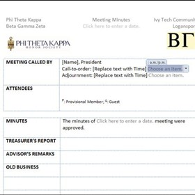 Word Documents: Meeting Minutes Template