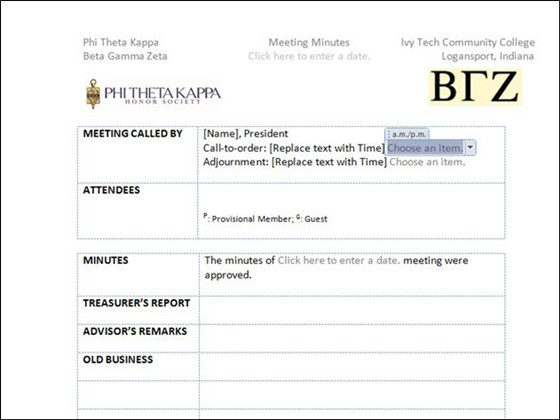 Word Documents: Meeting Minutes Template  Business Meeting Minutes Template Word